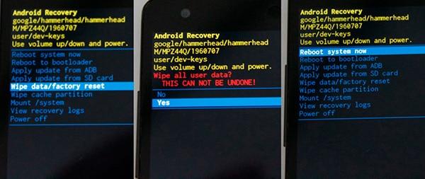 reseteo restaurar de fábrica factory reset android