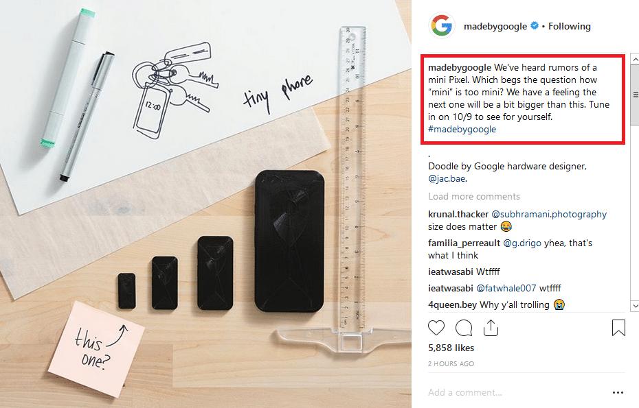 Google-Pixel-Mini-Burla-en-instagram