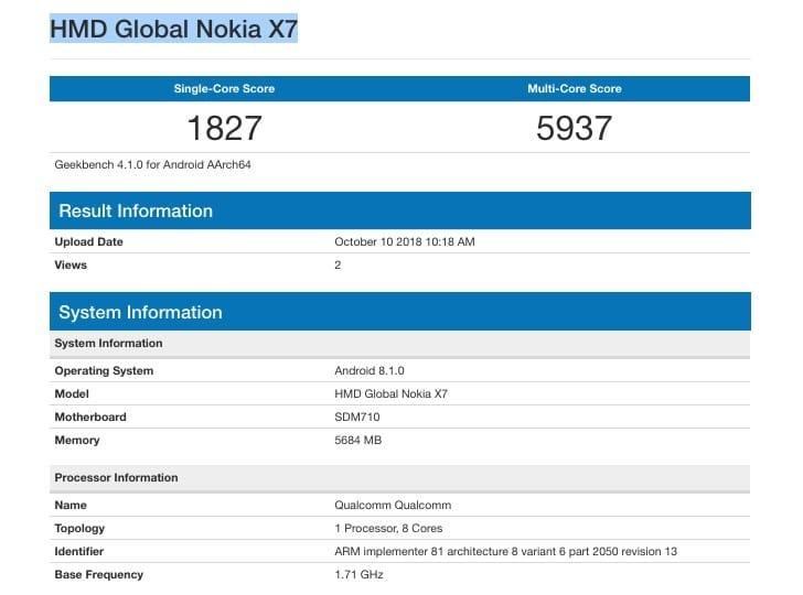 Nokia 7.1 Plus Geekbench