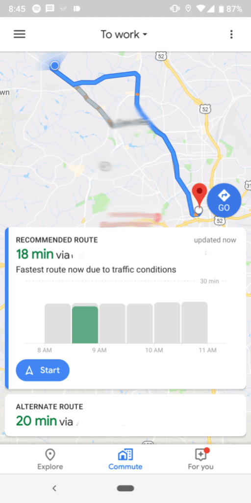 google-maps-commute-Android