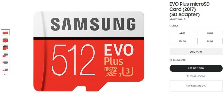 microSD Samsung 512GB web